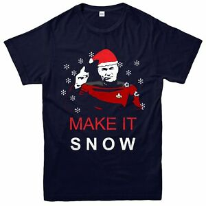 Star-Trek-Christmas-T-Shirt-Make-It-Snow-Xmas-Festive-Adult-amp-Kids-Tee-Top