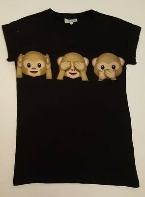 PRIMARK LADIES BLACK MONKEY EMOJI  IPHONE T SHIRT TEE TOP UK 6, 8, 10 or 18