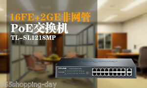 Details about TP-LINK TL-SL1218MP 16-port PoE Switch with 2 RJ-45 Gigabit  Up to 30W per port