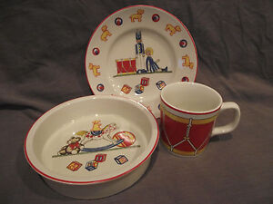 Image is loading Tiffany-&-Co-Tiffany-Toys-3-Piece-Set- & Tiffany u0026 Co Tiffany Toys 3 Piece Set - Plate Bowl and Cup ...