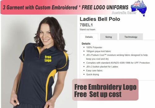 3 Cus Ladies m Sports Polo with Your Embroidered FREE LOGO POLO 328