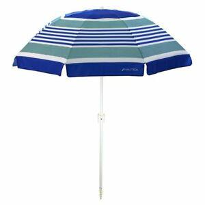 Image is loading NEW-NAUTICA-7-039-VENTED-BEACH-UMBRELLA-CANOPY-  sc 1 st  eBay & NEW NAUTICA 7u0027 VENTED BEACH UMBRELLA CANOPY TENT w/ SAND ANCHOR ...