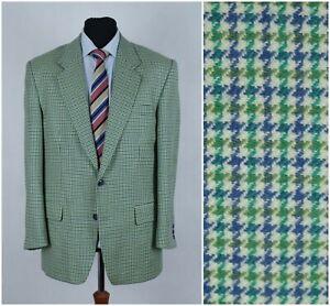Men-HENRI-MORELL-UK-42R-Vintage-Green-Houndstooth-Check-Sport-Coat-Blazer-Jacket