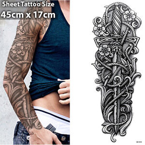 sword full arm temporary tattoo sleeve stickers body art 3d tattoo waterproof ebay. Black Bedroom Furniture Sets. Home Design Ideas