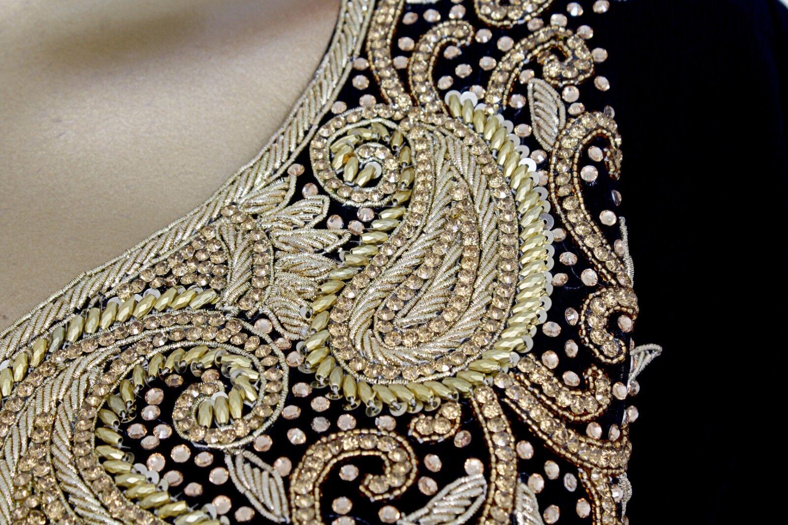 New Exclusive Crystal Embellished Kaftan Gown Tunic Arabian Arabian Arabian Caftan Jalabiya Maxi 7fe150