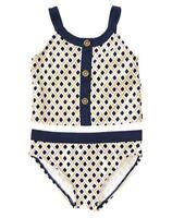 Gymboree Swim Shop Metallic Gold Geo Navy Swimsuit Bathing Suit Sz: 5