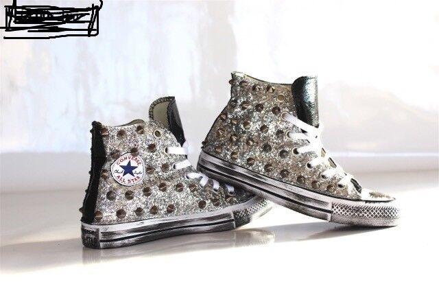 Converse all star borchie con glitter argento e borchie star piu' linguetta e tacco pelle 7a686b