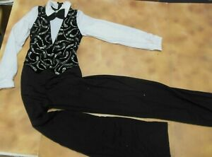 Boy-039-s-Large-Black-Glittered-Velvet-Dance-Zip-back-jumpsuit-looks-like-3-pieces