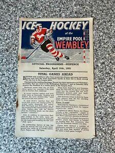 Wembley Empire Pool - Wembley Lions - Ice Hockey Programme 16/04/1955