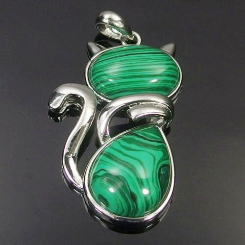 Natural Agate Lapis Malachite aventurine Stone Beads Cat Charms Pendant Necklace