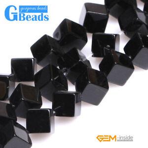 "Square Cube Black Agate Onyx Gemstone Loose Beads For Jewelery Making Strand 15/"""