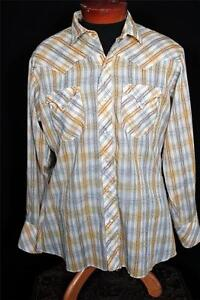 VINTAGE-1960-039-S-LONG-TAIL-COTTON-BURNT-YELLOW-WOVEN-STYLE-WESTERN-SNAP-SHIRT-M-L