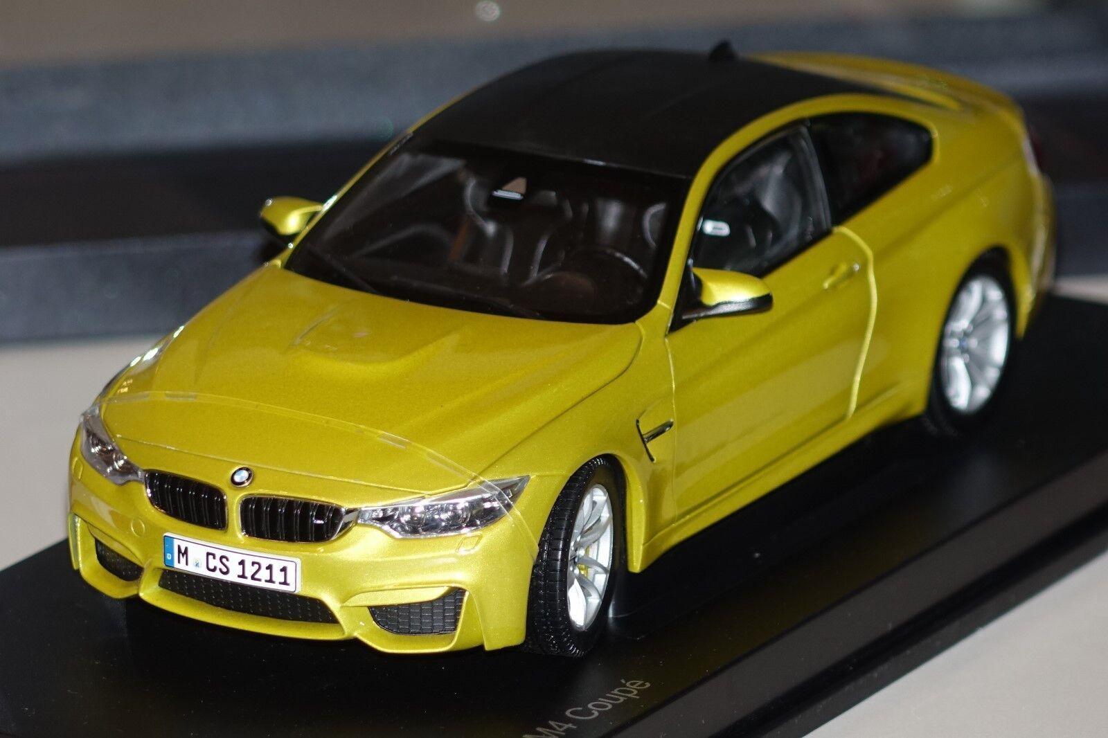 BMW m4 Coupe f82 Jaune Metallic Paragon BMW 80432339606 1 18 NOUVEAU & NEUF dans sa boîte