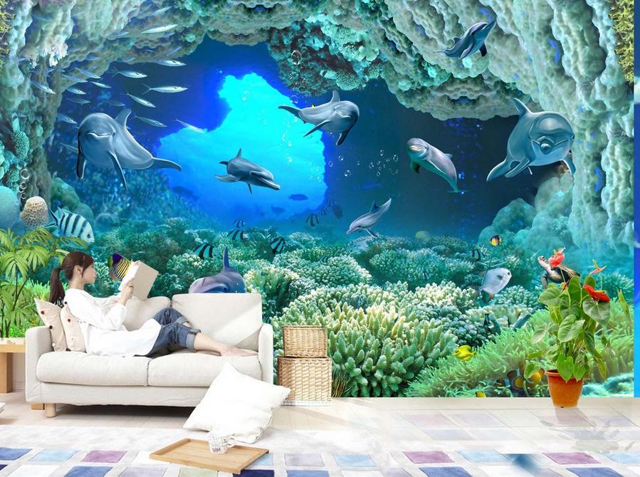 Papel Pintado Mural De Vellón Delfines Cave De Coral 2 Paisaje Fondo De PanGröße