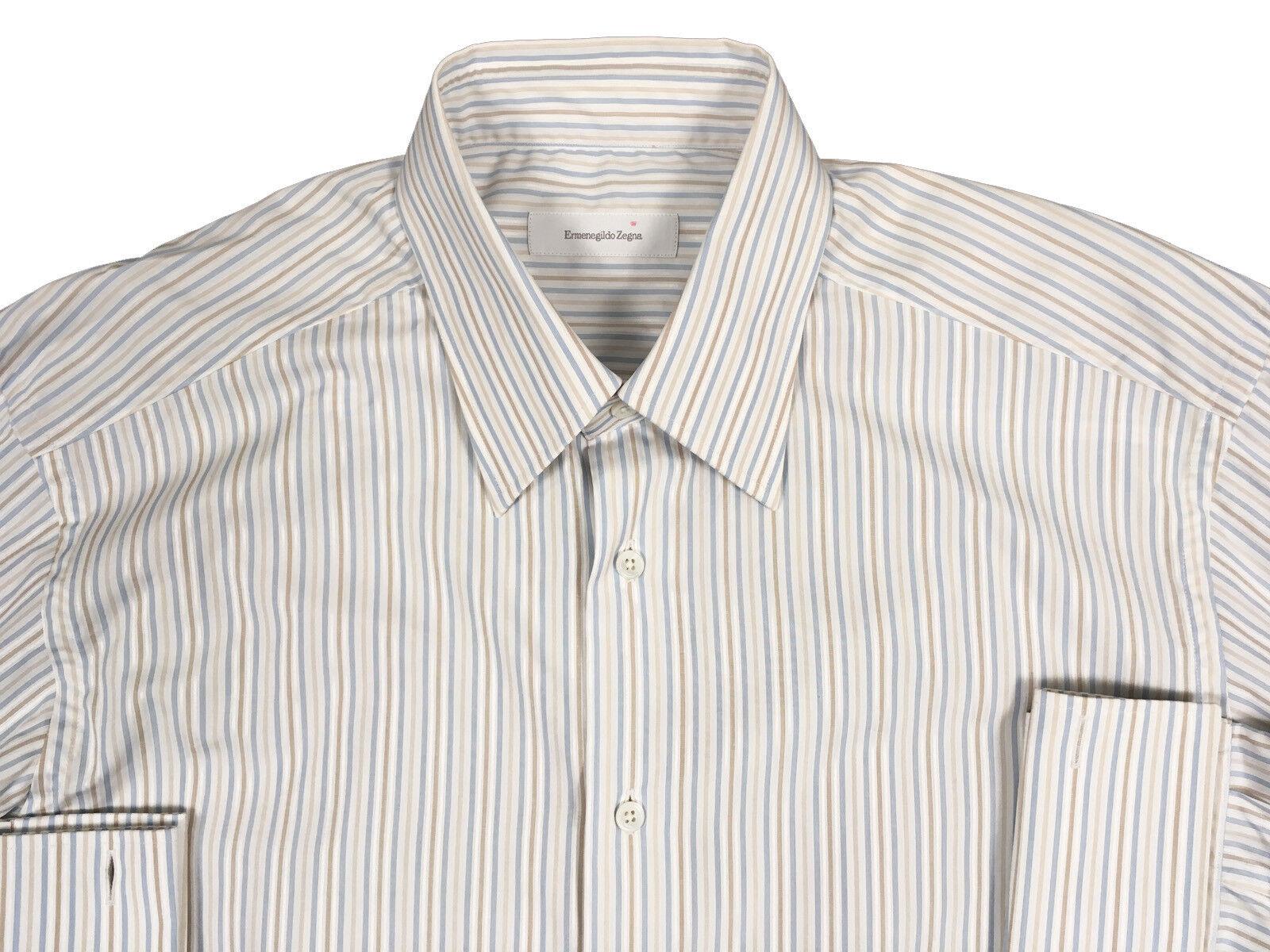 NEW 455 Ermenegildo Zegna French Cuff Dress Shirt  US 17 e 43  Weiß Blau Tan