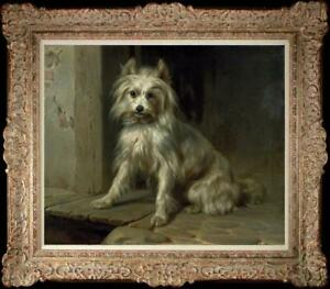 Old-Master-Art-Antique-Oil-Painting-animal-Portrait-dog-on-canvas-20-034-x24-034