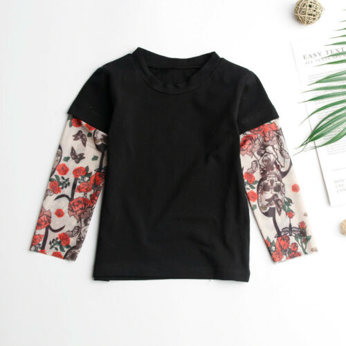 Toddler Baby Kids Boys Blouse With Mesh Tattoo Print Sleeve Tops Romper Pullover