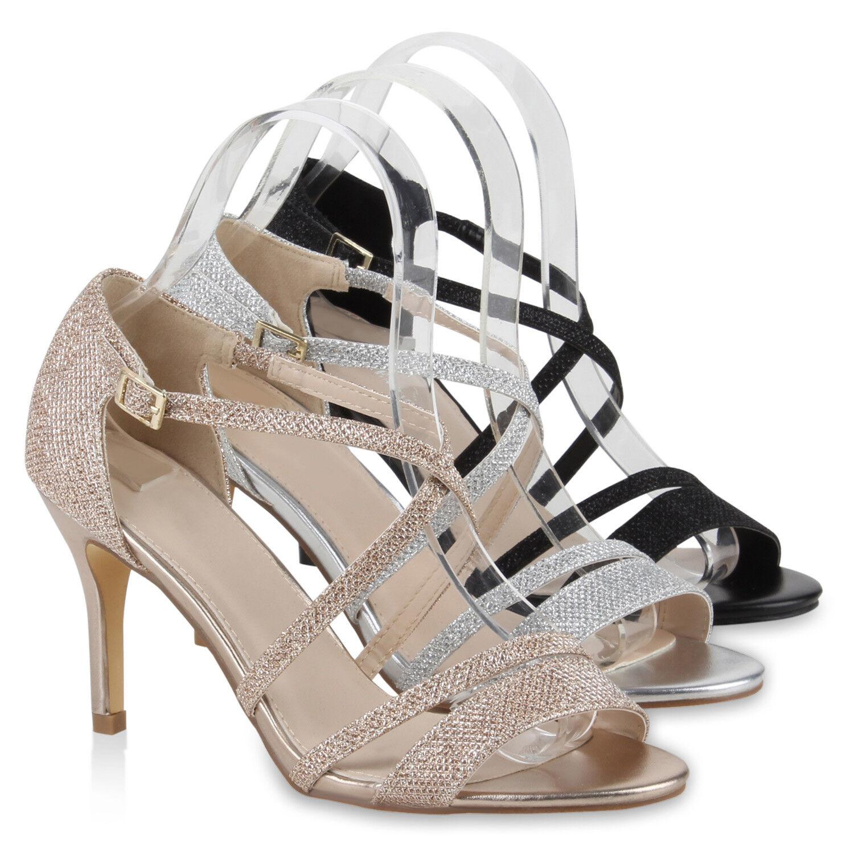 Damen Riemchensandal<wbr/>etten Glitzer Sandaletten Metallic Stilettos 78931 Schuhe