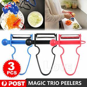 3PCS Trio Peelers Slicer Shredder Peeler Trio Durable Vegetable Fruit AU