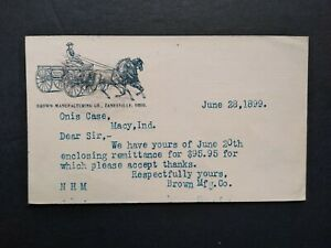Ohio-Zanesville-1899-Brown-Manufacturing-Horse-Buggy-Advertising-Postal-Card