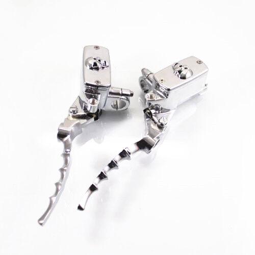 "1/"" Skull Hand Control Reservoir Brake Clutch Levers For Harley Dyna Tour Glide"