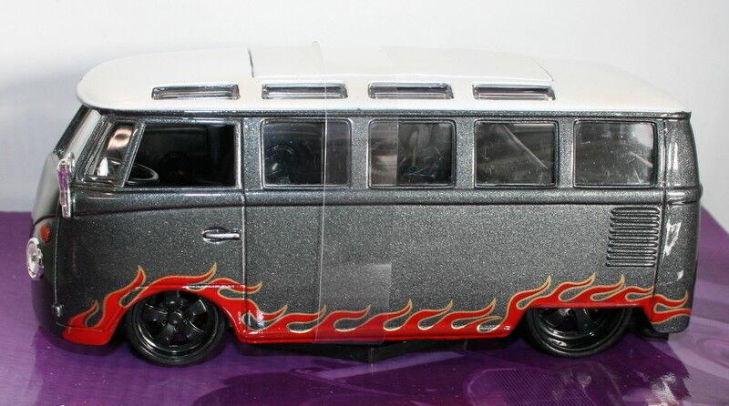 Maisto Oulaws 1 25 Scale 31022 - Volkswagen Volkswagen Volkswagen VW Van Samba - Grey with flames 2c17d8