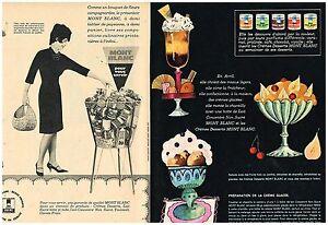 A-Publicite-Advertising-1963-2-pages-Les-Cremes-desserts-Mont-Blanc