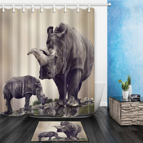 Rhino Family Polyester Waterproof Bath Shower Curtain W// 12 Hooks Bathroom Mat