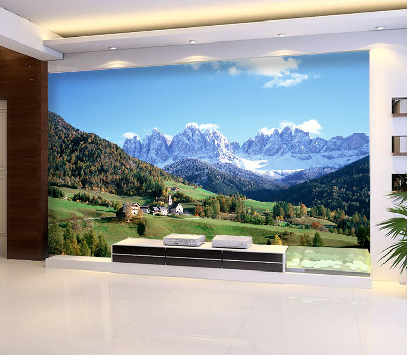 3D Mountains tree house Wall Paper wall Print Decal Wall Deco Indoor wall Mural