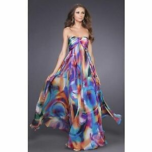 f3508e31b5 Image is loading Unique-La-Femme-Size-8-Watercolor-Gown-Prom-