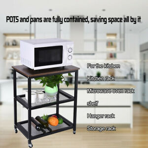 3-Tier-Serving-Cart-Kitchen-Utility-Cart-W-Wheels-Storage-For-Dining-Room-Desk