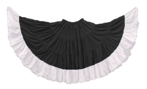 BLACK Skirt Maxi  4 Tiered 6 Yard Cotton Belly Dance Gypsy Flamenco Tribal Jupe