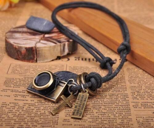 N215 Negro Buena Cámara Colgante el cordón de cuero Collar Largo Para Hombre Nuevo