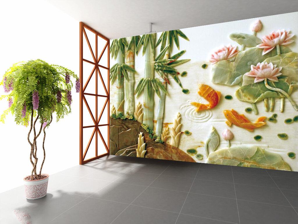 3D Grün Bamboo Carp Lotus 4156 Wall Paper Wall Print Decal Wall AJ WALLPAPER CA