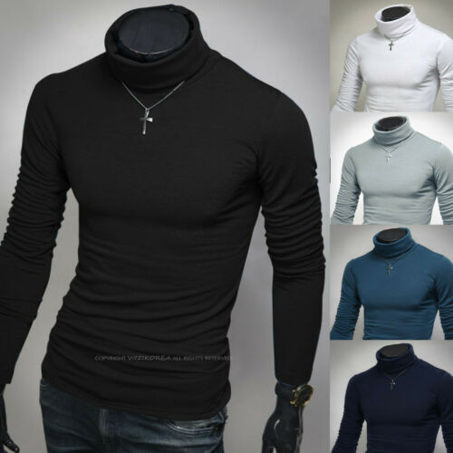 Mens Stylish Napping Knit Turtleneck Pullover Tight Sweater Shirts Tops B534 S//M