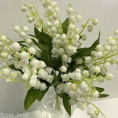 1X ARTIFICIAL FLOWER SILK PLASTIC WEDDING CREAM WHITE LILY OF THE VALLEY BUNCH