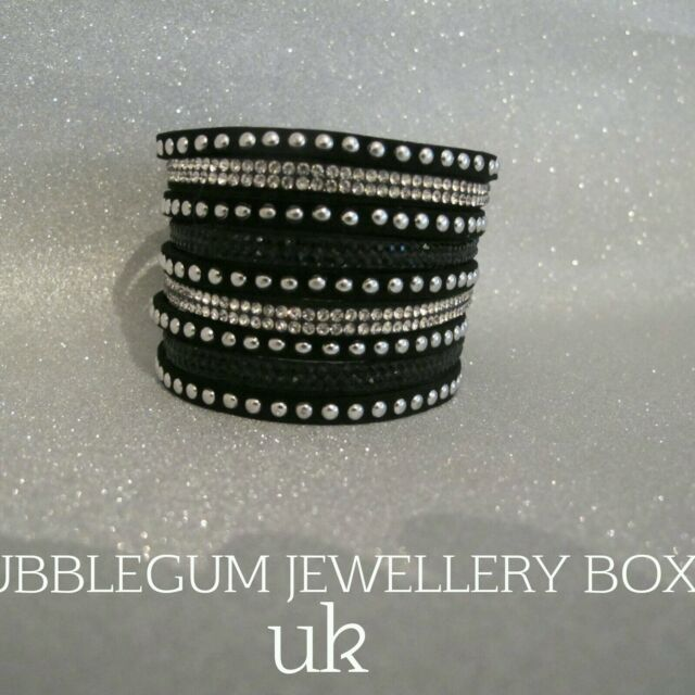 BRACELET WIDE FAUX LEATHER BLACK SILVER Wrap Wristband Crystal Rhinestone UK