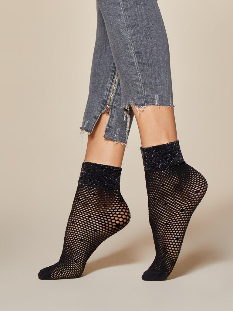 Sexy Femme noir Séduction resille pois 40 den chaussettes en noir Femme 597e35