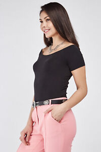 Ladies-New-Look-Shirred-short-sleeved-Super-Stretchy-Quality-Body-Fit-Tops