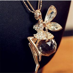 Mode-Frauen-Kristall-Glaenzende-Fee-Engels-Fluegel-Anhaenger-Langkettige-Halskette