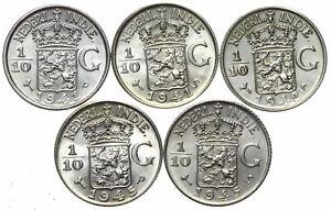 Niederlaendisch-Indien-KONVOLUT-5-Muenzen-1-10-Gulden-1941-1945-Silber-UNC-LOT