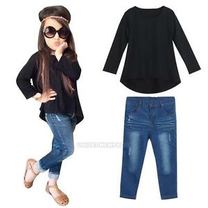 2Pcs-Kids-Toddler-Girls-Long-Sleeve-T-shirt-Tops-Ripped-Jeans-Pants-Outfits-Set