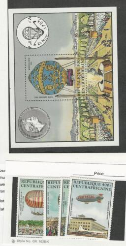 Central Africa, Postage Stamp, #C2826 Mint NH Set & Sheet, 1983 Airships