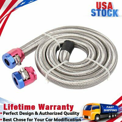 """x 6/"""" Red Blue Clamps Hose Braided Stainless Steel Fuel Vacuum Line Kit 3//8/"""" I.D"""