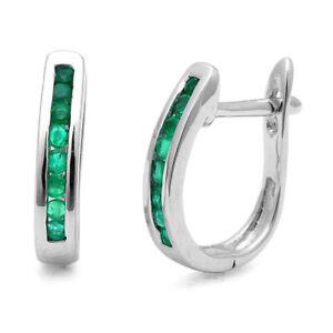 1.00 Carat Green Emerald Hoop Earrings, White Gold