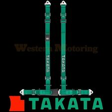 Takata Seat Belt Harness: Drift II 4-Point ASM - Green (Snap-On) 74000US-H2