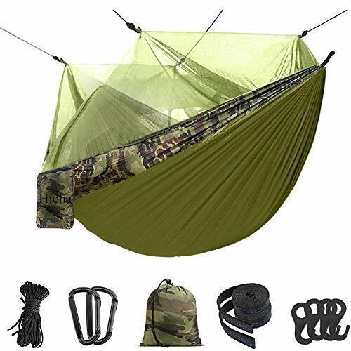 Hieha Double Camping Hammock with Mosquito Net Portable Nylon Hiking Hammocks...