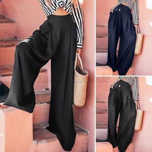 Mode-Femme-Casual-Chino-Couleur-Unie-Jambe-Large-Decontracte-lache-Pantalon-Plus