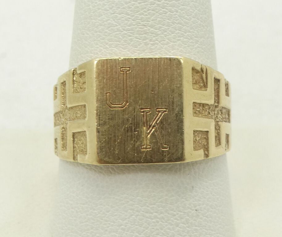 Bold 14K Yellow gold Textured  JK  Innitial Ring Size 9.3 A3317