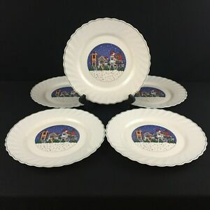 Set-of-5-VTG-Dinner-Plates-by-Arcopal-Holiday-Village-Christmas-Winter-France